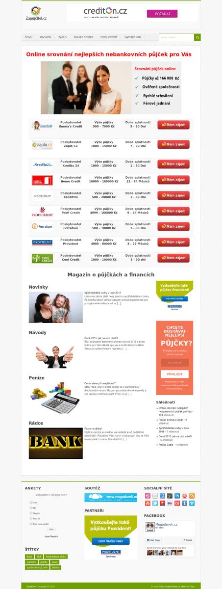 Web www.zapujcitel.cz na prodej